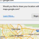 Nettleseren spør brukeren om lov til å innhente lokasjon på vegne av karttjenesten